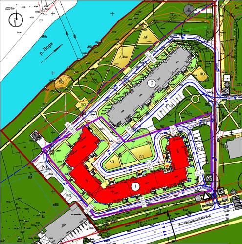 Генплан и схема организации движения транспорта и пешеходов.