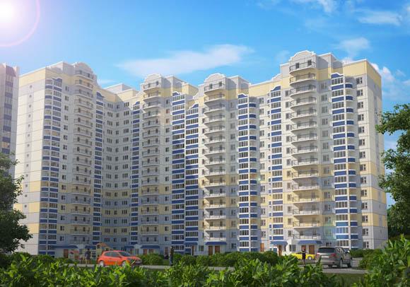 Визуализация жилого дома по позиции 2 - вид со двора