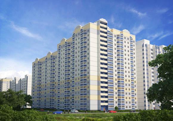 Визуализация жилого дома по позиции 2 - вид с улицы