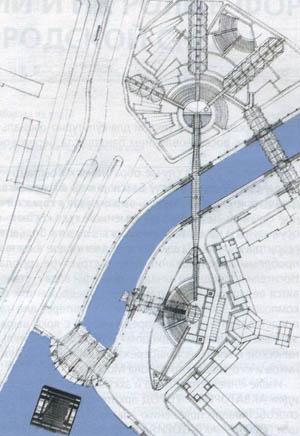 Схема организации пространства на Котельнической набережной. Генплан.