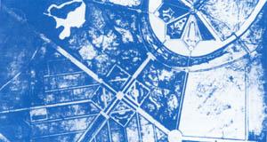 К. Мельников. Планировка юго-западного зайона г.Москвы. Конкурсный проект, 1935г. Мосты со спирильными пандусами со стороны Лужников. Генплан.