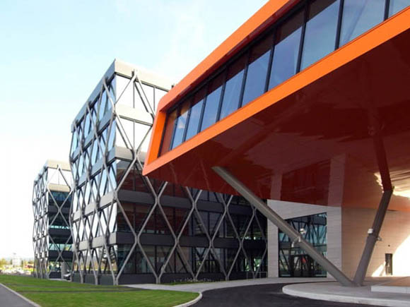 Architects: A-Lab Location: Fornebu, Norway <br><br>Partners in Charge: Odd Klev, Geir Haaversen, Adnan Harambasic<br> Design team: Jan Petter Seim, Tonje Løvdahl, Tor Inge Hjemdal, Jarand Midtgaard, Inger Totland<br> Client: IT-Fornebu Eiendom<br> Landscape design: Asplan Viak<br> Structural engineer: Rambøll Norge AS (competition phase: Arup)<br> Electro: Føyn Consult<br> Ventilation: Norconsult<br> Project Area: 28,000 sqm<br> Budget: 500 mill NOK<br> Project Year: 2009<br> Photographs: Luis Fonseca<br>