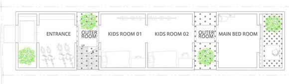 план первого этажа жилого дома в японии