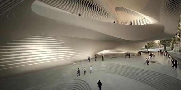 На этой неделе было объявлено, что Заха Хадид разработала проект нового дома Культуры и Искусство имени короля Абдулы II в Иордании.<br> <br> Это центр искусства и культуры, который включает в себя 1600-местный концертный зал, 400-местный театр, учебный центр, комнаты для репетиций и галереи.<br> <br> Как видно на визуализации, здание выглядит довольно просто, контраст создают вырезанные большие окна, акцентирующие внимание на фасаде.