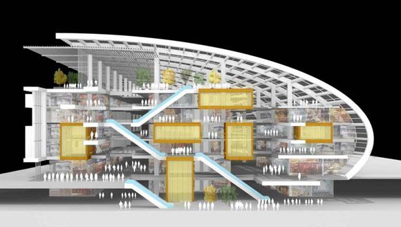 """Недавно объявили победителей выставки 2010 AIA в Нью-Йорке, и этот проект архитектора Kohn Pedersen Fox получил награду в категории """"непостроенные проекты"""". Подобно другим победившим проектам, он был выбран за его """"качество, оригинальное решение, новшество, техничность."""" Он был назван """"Городским Рынком"""" предназначен для Тяньцзиня, Китай. Городской торговый центр - это способ оживить речные берега с помощью культурных учреждения. Спроектированное из прозрачных материалов, здание позволяет внутреннему интерьеру затрагивать окружающие улицы. Структура резко изгибается к вверху от прибрежной полосы."""