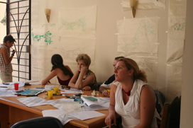 N.Chachava, M.Lecvishvili, P.Nozdracheva are the commission of the first sketches discussion.