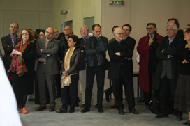 The goverment of France` representetives,architects,teachers on the opening of Lille archetectural school`s new building.
