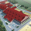 Equestrian center in the village. Red Hills. Sketch of building.