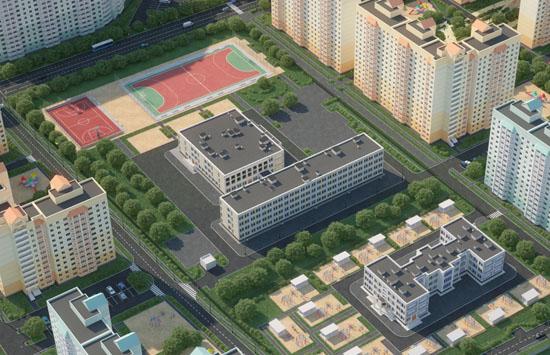 Использование 3D модели школы И-1605А при визуализации микрорайона в гор.пос. Поварово