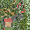 Sketch of area development of sports and leisure center Maloe Ushakovo