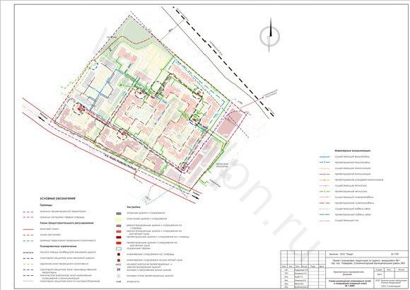 Схема размещения инженерных сетей и сооружений(сводный план) мкр. №1 в гор.пос. Поварово