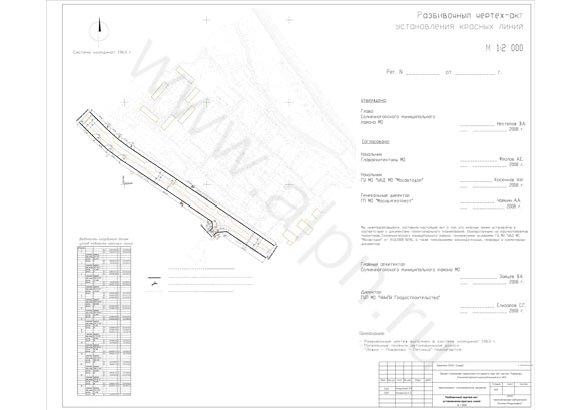 Разбивочный чертеж-акт установления красных линий мкр. №1 в гор.пос. Поварово