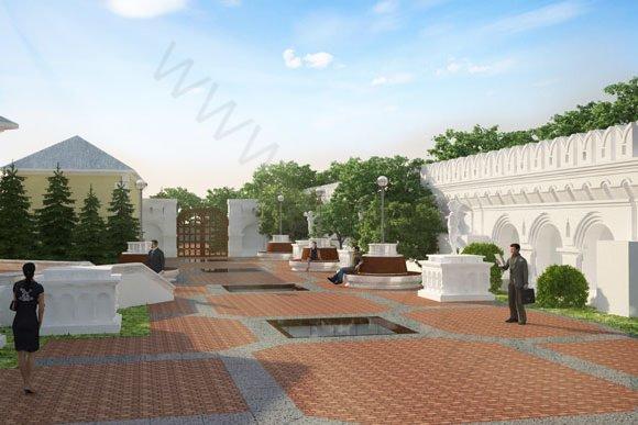 Дневная визуализация благоустройства и озеленения территории патриаршего центра в Москве