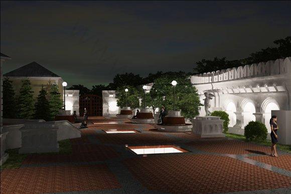 Ночная визуализация благоустройства и озеленения территории патриаршего центра в Москве