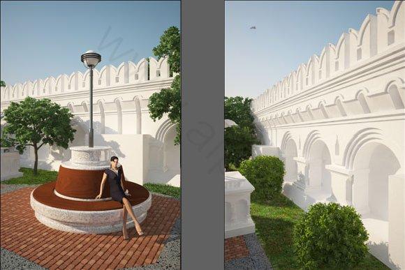 Визуализация фрагментов - скамья и декоративная стена