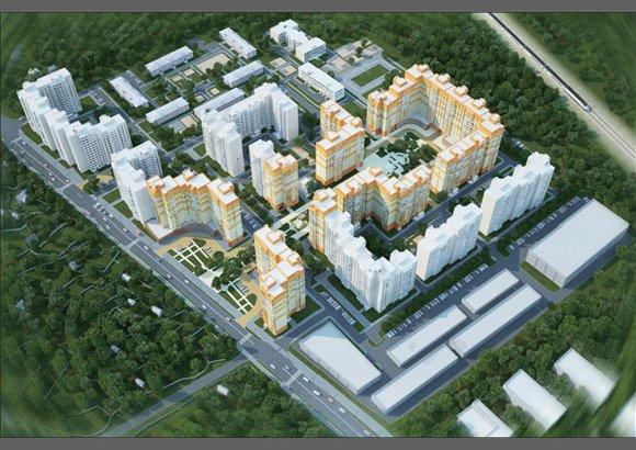 Визуализация проекта планировки территории микрорайона №1 в гор. пос. Поварово, вид 1