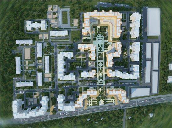 Визуализация проекта планировки территории микрорайона №1 в гор. пос. Поварово, вид 3