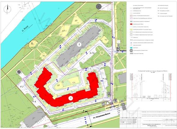 Схема организации улично-дорожной сети и движения транспорта на территории жилого комплекса в Красноармейске, ул. Чкалова