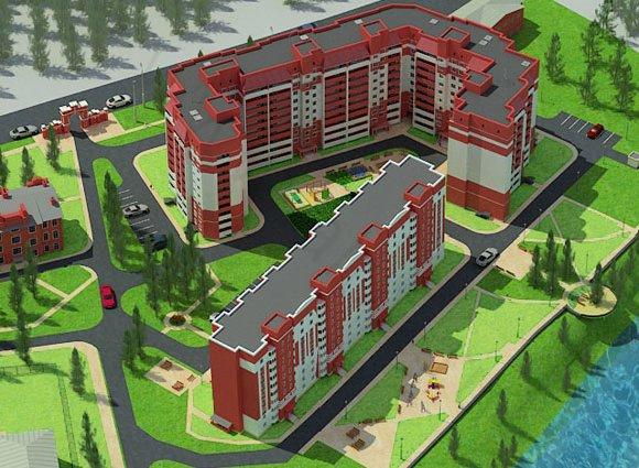 Визуализация территории жилого комплекса в Красноармейске на ул. Чкалова, вид 1