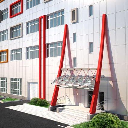 3d визуализация входа в офисное здание