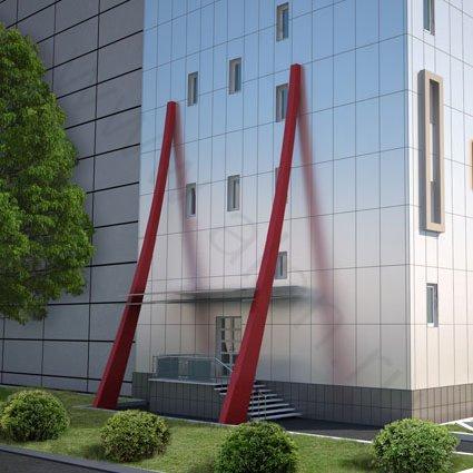 3d визуализация бокового входа в здание