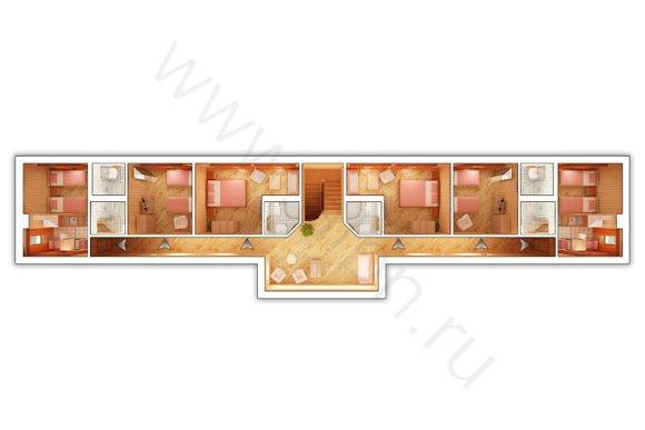 Планировка 2-го этажа гостиницы КСК Эквиторус