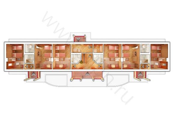 Планировка 1-го этажа гостиницы КСК Эквиторус
