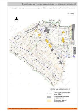 Сохраняемые и сносимые здания и сооружения (схема).