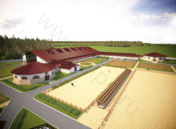 Объемно-планировочное решение конно-спортивного комплекса, вид 2