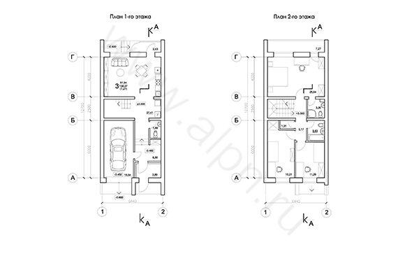 Планы этажей рядового блока с расстановкой мебели