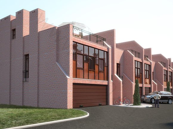 Визуализация домов блочного типа, цветовое решение 1, вид 1
