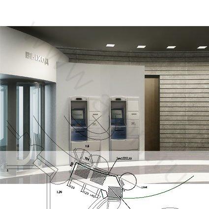 Фотография 1 реализованного дизайн-проекта входной зоны Собинбанка