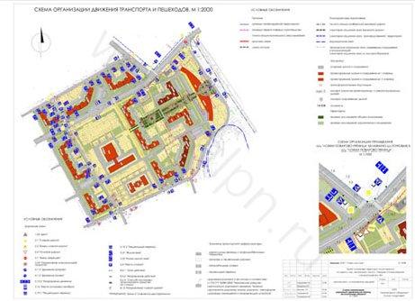 Схема организации движения транспорта и пешеходов в гор. пос. Поварово, МО, мкрн. Центральный