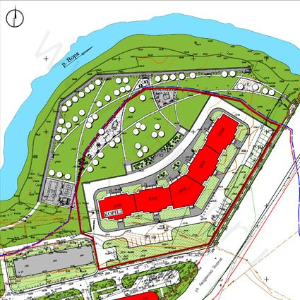 The territory of housing estate complex improvement near the Vorya River